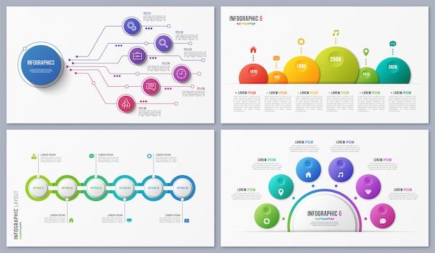 Set di disegni infografici contemporanei