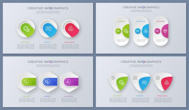 Insieme di disegni infographic di vettore contemporaneo, modello, grafici