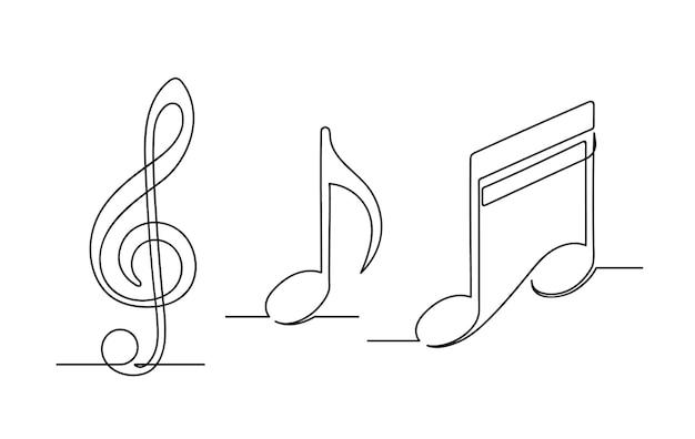 Set di un disegno a tratteggio continuo di note musicali