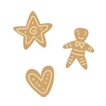 Set di biscotti di diverse forme in stile piatto per bambini dei cartoni animati cuore di stelle e omino di pan di zenzero