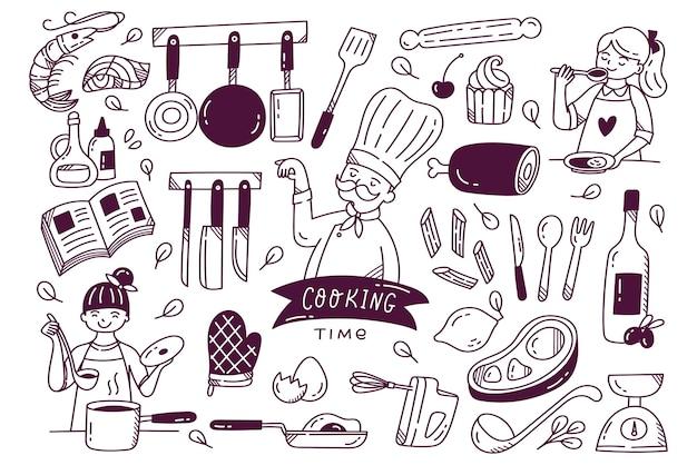 Set di cucina doodle utensili da cucina e ingredienti