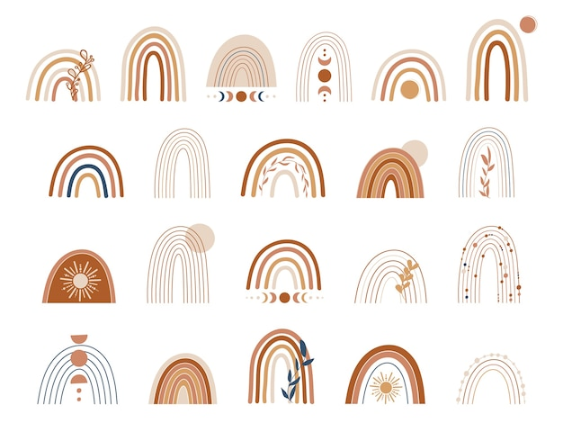 Set di arcobaleni in rame e marrone. illustrazione di arcobaleno boho