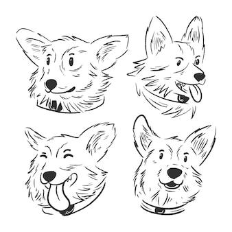 Set di illustrazioni di volti di cani corgi disegnati a mano e schizzi