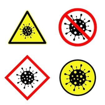 Set di segnale di attenzione del coronavirus, simbolo di quarantena