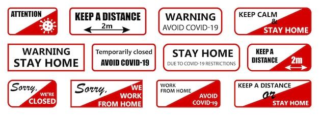 Set di targhe informative sul coronavirus. rosso e nero su sfondo bianco