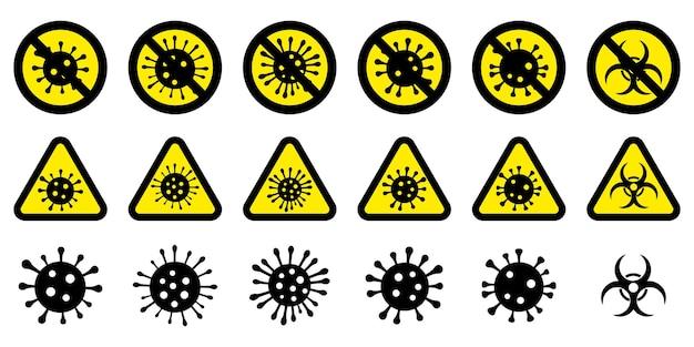 Serie di segnali di pericolo di coronavirus