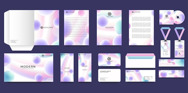 Set di modelli di branding di identità aziendale