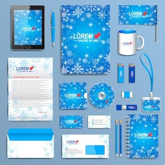 Set di modello di identità aziendale. design moderno della cancelleria aziendale. design blu di capodanno con fiocchi di neve dorati.