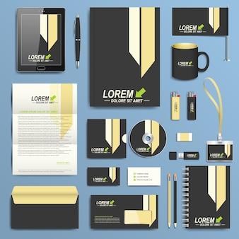 Set di modello di identità aziendale. design moderno della cancelleria aziendale.