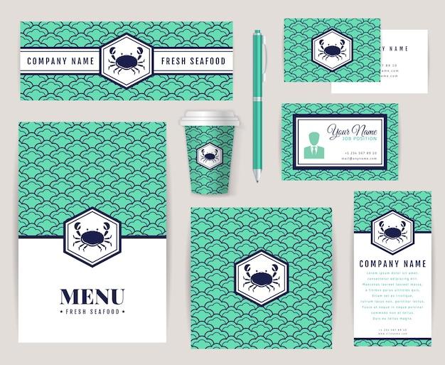 Set di modelli di identità aziendale con logo granchio