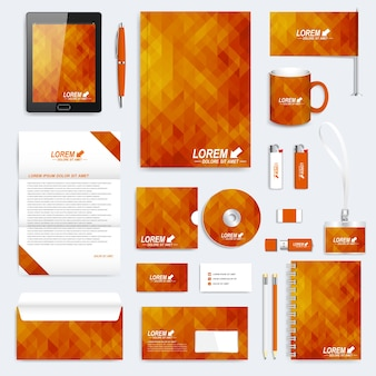 Set di cancelleria aziendale e forniture per ufficio con motivo geometrico arancione