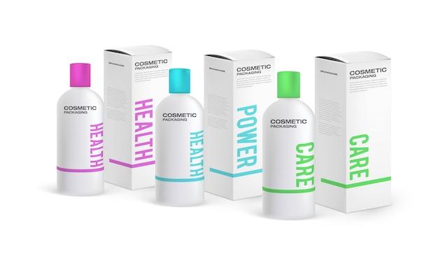 Set di modelli di design di packaging cosmetico. confezione alta in cartone e flacone per shampoo.