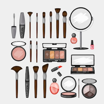 Set di prodotti cosmetici. stile cartone animato