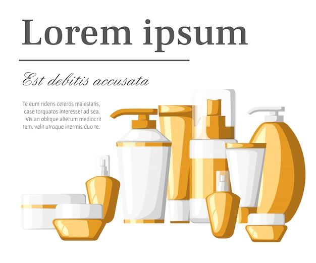 Set di cosmetici contaniers tubi e bottiglie contenitori di plastica bianchi e dorati bottiglie con illustrazione spray con posto per il testo su sfondo bianco