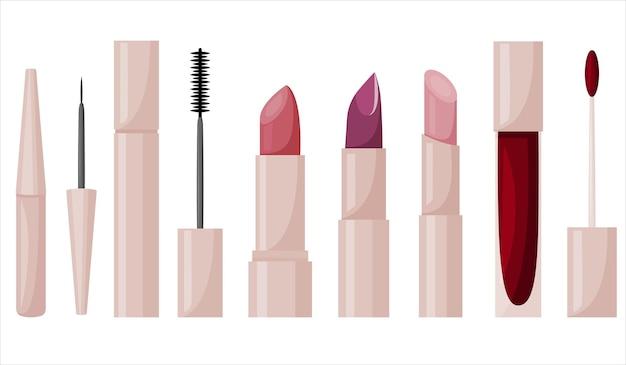 Un set di cosmetici per labbra e occhi. elementi di design. icone vettoriali.