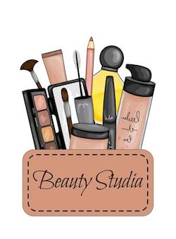 Set di cosmetici per il viso. stile cartone animato. illustrazione vettoriale.