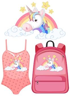 Set di costume con logo unicorno