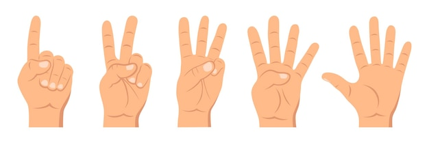 Set di conteggio segno a mano da uno a cinque. concetto di gesti di comunicazione.