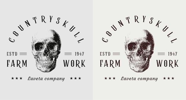 Set di logo vintage teschio di paese