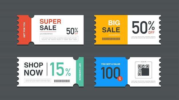Set di vendita promozione coupon per sito web, pubblicità su internet, social media o coupon.