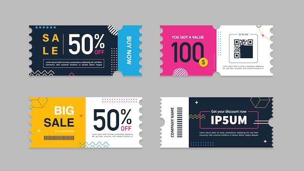 Set di vendita promozionale di coupon per annunci di siti web su social media o coupon