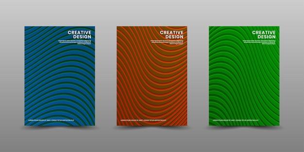 Set di modelli di copertina con texture a onde