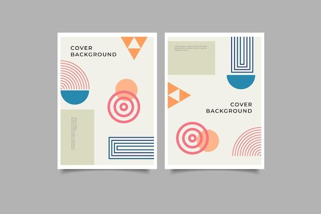 Set di copertina geometrica memphis design