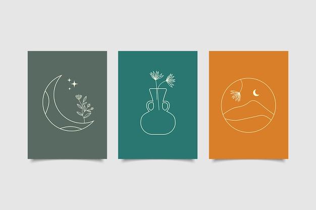 Set di copertina minimalista disegnata a mano