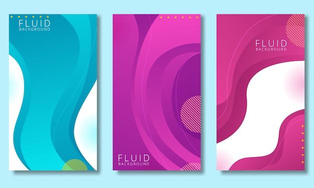 Set di modelli di design di copertine con vivaci colori sfumati