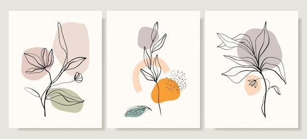 Set di copertine con fiori e piante