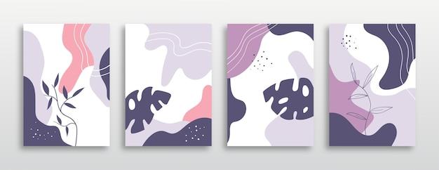 Set di copertine con piante esotiche alla moda dai colori pastello.