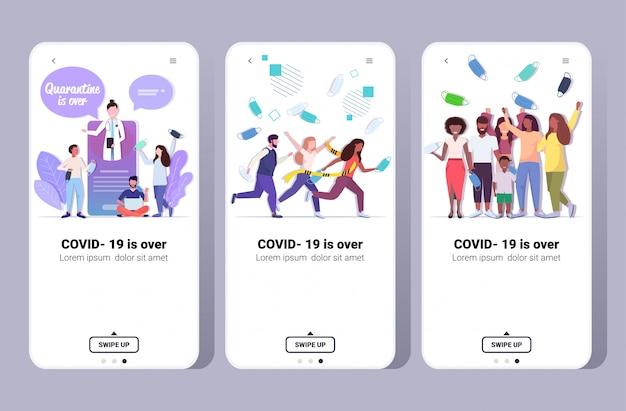 Impostare la pandemia virale covid-19 è finita la quarantena del coronavirus