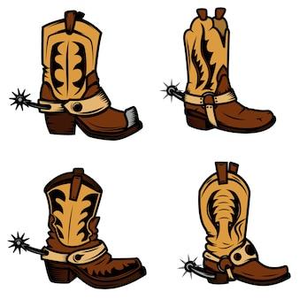 Insieme delle illustrazioni di stivali da cowboy. elementi per logo, etichetta, emblema, segno, distintivo. illustrazione