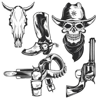 Set di elementi da cowboy per creare badge, loghi, etichette, poster, ecc.