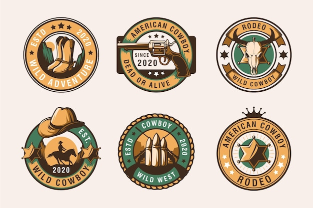 Set di emblemi vintage rodeo cowboy, etichette, distintivi