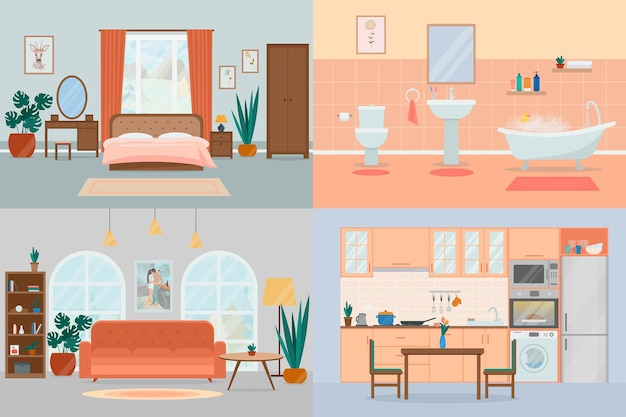 Set di accoglienti camere di casa di design d'interni con mobili