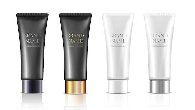 Set di bottiglie di crema in bianco nero con coperchio argento o dorato isolato golden