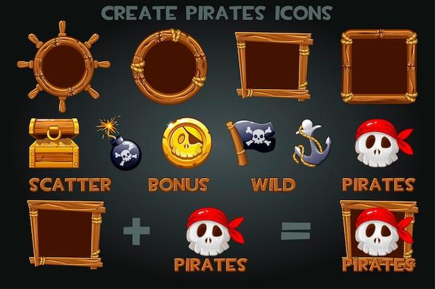 Impostato per creare icone piratate e cornici in legno. simboli dei pirati pak, bandiera, moneta, ancora, tesoro.