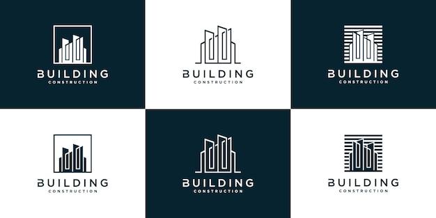 Set di modello di logo di edificio astratto creativo per azienda vettore premium