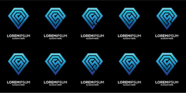 Imposta il modello di logo del diamante astratto creativo Vettore Premium