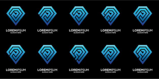 Imposta il modello di logo del diamante astratto creativo