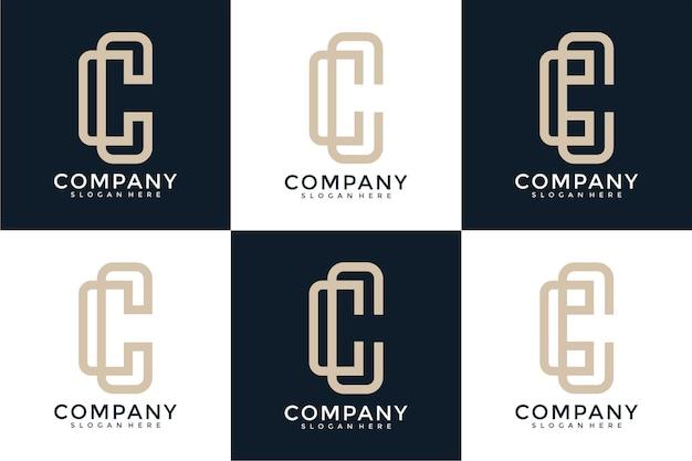 Set di lettere astratte creative cc logo design collection