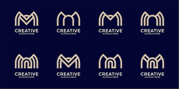 Set di raccolta di design logo astratto creativo lettera m