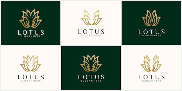 Imposta il logo astratto creativo del loto