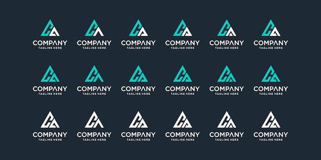 Set di modello di logo di lettera ca monogramma astratto creativo