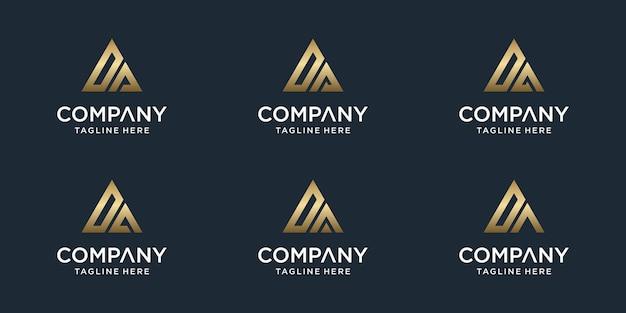 Set di modello di logo da lettera monogramma astratto creativo