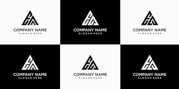 Set di modello di progettazione di logo ea lettera monogramma astratto creativo