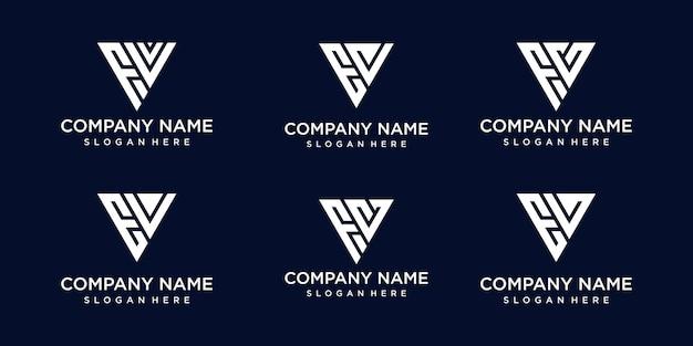 Set di creative monogramma astratto lettera fv, modello di progettazione del logo ev