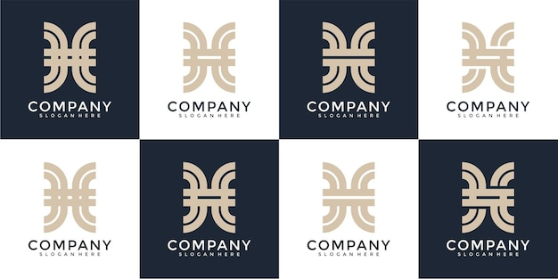 Set di ispirazione creativa per il design del logo della lettera h del monogramma astratto