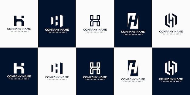Set di modello di progettazione di logo di lettera h monogramma astratto creativo